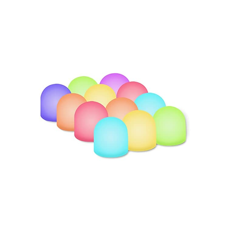 Color-Changing-Mini-Nightlight,-Multicolor-LED-Mood-Lighting---Night-Light-for-Kid's-Bedroom,-Bathroom,-Living-Room---Battery-Powered-(Pack-of-12)