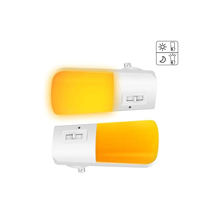 LED-Amber-Night-Light-with-Sleep-Aid,-No-Blue-Light,-Dusk-to-Dawn-Sensor,-Wall-Plug-in-Night-Lights,-5-80LM-Night-Light-for-Bedroom,-Hallway,-Kitchen,-Stairway,-Nursery-2-Pack