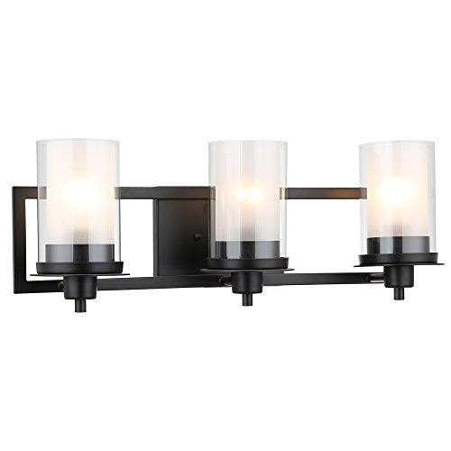 Juno-Matte-Black-3-Light-Wall-Sconce/Bathroom-Fixture-with-Clear-and-Frosted-Glass:-73484