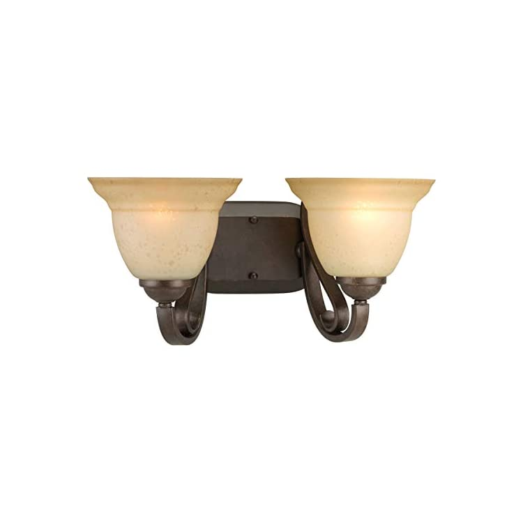P2882-77-2-Light-Bath-Bracket-with-Tea-Stain-Etched-Glass,-Forged-Bronze