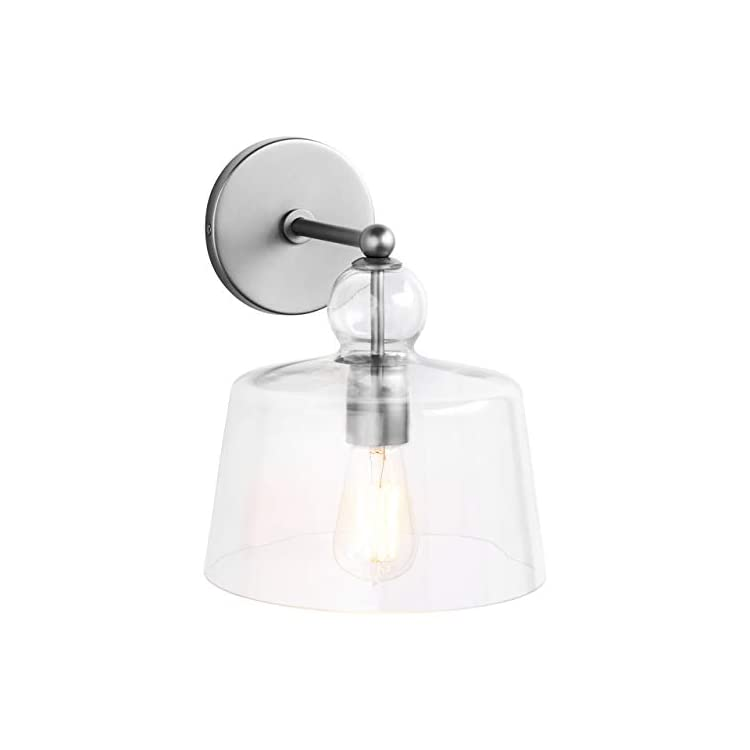 Modern-Wall-Mount-Sconce-Fixture-With-Light-Bulb-And-Glass-Shade---16-x-8-x-10-Inches,-Brushed-Nickel