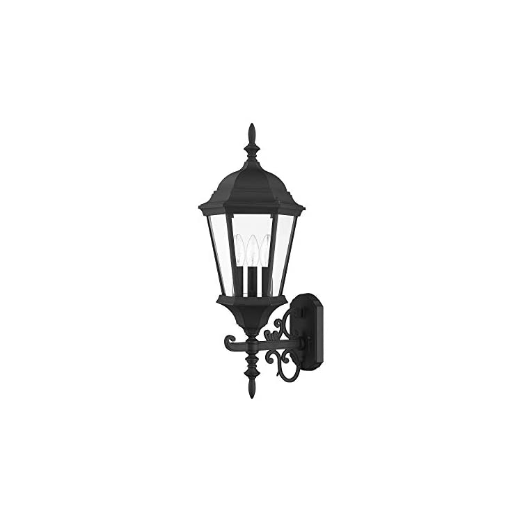 7561-04-Outdoor-Wall-Lantern-with-Clear-Beveled-Glass-Shades,-Black