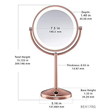 Reflections-Double-Sided-LED-Lighted-Vanity-Makeup-Mirror,-Rose-Gold