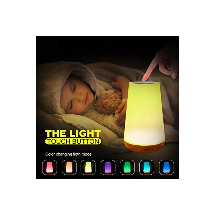 LED-Nursery-Night-Light-Touch-Lamp-Bedside-Table-Lamp-for-Kids-Bedroom-Rechargeable-Dimmable-with-Remote-Control-and-Timing-Function-Warm-White-Light-+-RGB-Color-Changing