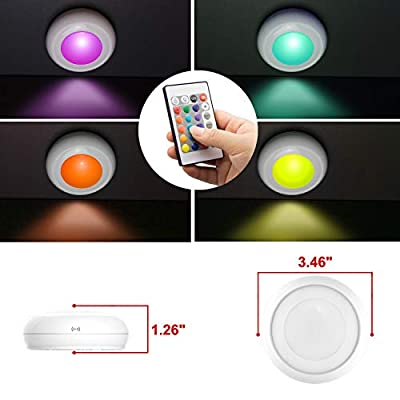 LUXSWAY-Wireless-Night-Light,Battery-Operated-LED-Lighting-Remote-Control-16-Color-RGB-Closet-Lights,FLASH/STROBE/FADE/SMOOTH-Mode,Dim-to-Bright-Stick-Under-Cabinet-Lights-for-Closet/Showcase