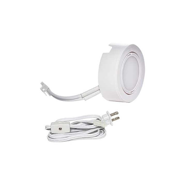 UNPL201-3K-3WH-Wired-LED-Puck-Lights-(x3)-Plug-In-Lighting,-Can-Be-Surface-Mount-or-Flush-Mount,-Easy-To-Install,-Daisy-Chain,-3-pack-3000K-Warm-White