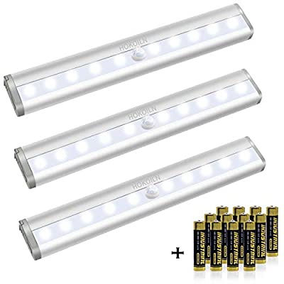 Motion-Sensor-Closet-Lights,-10-LED-Motion-Sensor-Lights,-Stick-on-Anywhere-Wireless-Battery-Operated-Night-Light-Bar,-Safe-Lights-for-Closet-Cabinet-Wardrobe-Stairs,-3-Pack-(with-Batteries)