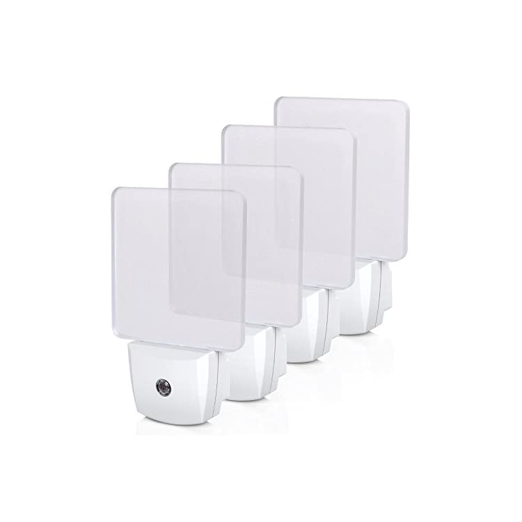 Plug-in-LED-Night-Light-with-Light-Sensor,-Auto-Dusk-to-Dawn-Sensor,-Bright-Nightlights-for-Bathroom,-Hallway,-Bedroom,-Living-Room,-Flat-Clear-Design,-Daylight,-UL-Listed,-4Pack