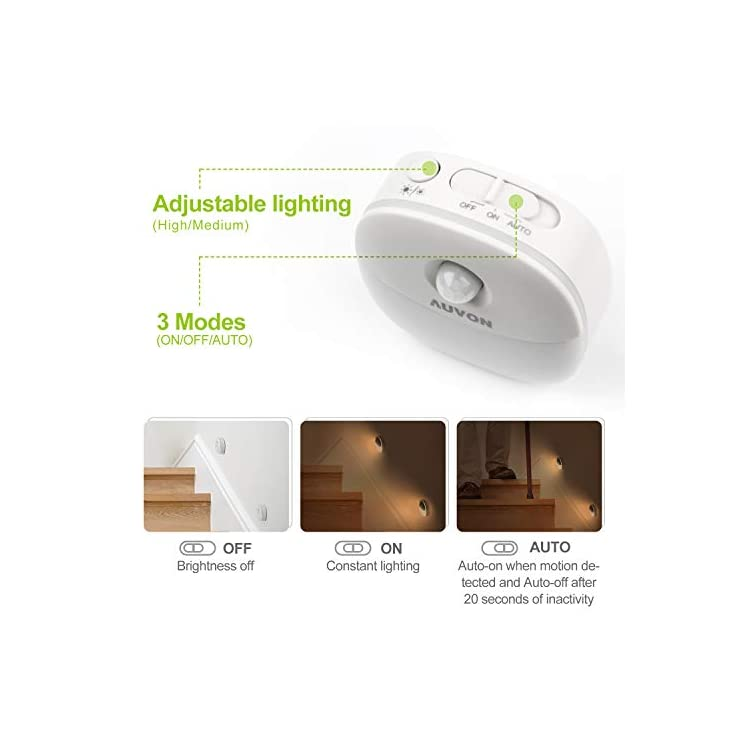 Rechargeable-Motion-Sensor-Night-Light,-Warm-White-LED-Stick-On-Closet-Light-with-Dusk-to-Dawn-Sensor,-Adjustable-Brightness-for-Wall,-Stairs,-Cabinet,-Hallway-(4-Pack)