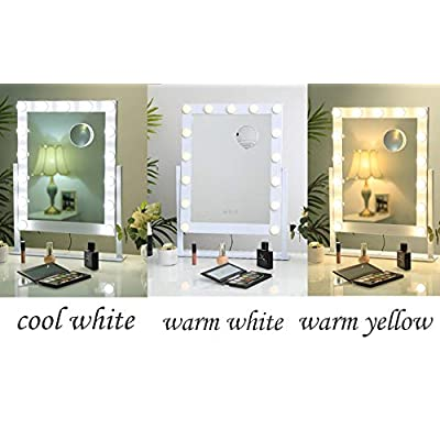 Large-Vanity-Makeup-Mirror-with-Lights,Hollywood-Lighted-Dressing-Tabletop-Mirror,Beauty-Cosmetic-Mirrors-with-15-pcs-Led-Bulbs,3-Color-Lighting-Modes,10X-Magnification-Mirror-Include,White
