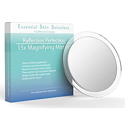 15X-Magnifying-Mirror-–-Use-for-Makeup-Application---Tweezing-–-and-Blackhead/Blemish-Removal-–-6-Inch-Round-Mirror-with-Three-Suction-Cups-for-Easy-Mounting