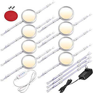 Under-Cabinet-LED-Puck-Lights,-3-Colors-Changeable,-Dimmable-Linkable-8-Lights-Kit,-for-Kitchen-Counter-Closet-Cupboard-Lighting,-120V-to-12V-Wall-Plug