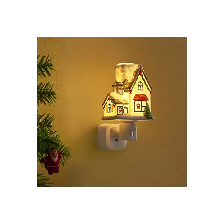 Night-Light-Plug-in-Wall-Night-Light-with-Essential-Oil-Glass-Cup-Aromatherapy-Furnace-(Christmas-Village)