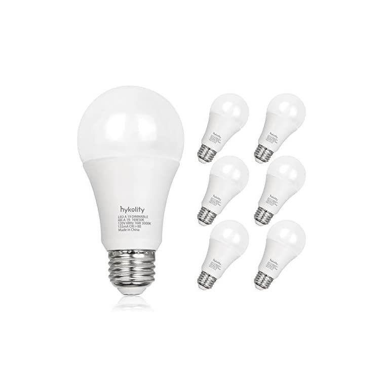 Hykolity-100W-Equivalent-A19-LED-Light-Bulb,-16W,-3000K-Warm-White,-1600LM,-E26-Medium-Base,-Dimmable,-UL-Listed-(6-Pack)