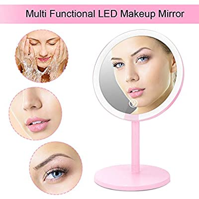 YOUFO-Lighted-Makeup-Mirror,Portable-Vanity-Mirror-with-24-LED-Lights-Round,1X/3X-Magnification,-Magnetic-Double-mirror,Rechargeable-and-Cordless