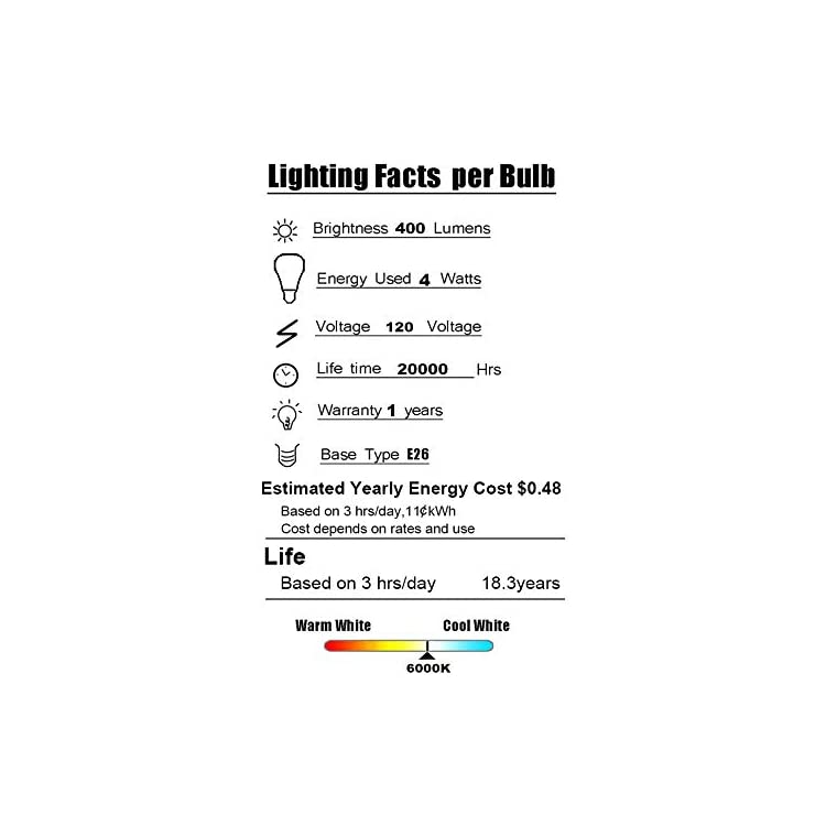 LED-Edison-Bulb-Non-Dimmable-Vintage-Style-Light-Bulbs-4W-6000K-Bright-Daylight-White-E26-Base-4-Pack-Antique-Bulb-by