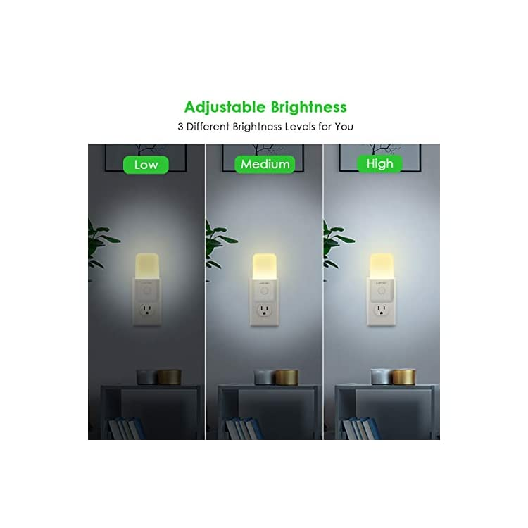 Dimmable-Plug-in-Night-Light,-Slim-Adjustable-Brightness-LED-Night-Lamp-with-Auto-Dusk-to-Dawn-Sensor,-Warm-White-Baby-Night-Lights-for-Kids-Room,-Bedroom,-Bathroom,-Hallway,-Kitchen,-Stairs-(4-Pack)