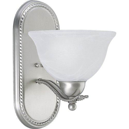 P3266-09-Traditional-One-Light-Bath-from-Avalon-Collection-in-Pwt,-Nckl,-B/S,-Slvr.-Finish,-7-3/4-Inch-Width-x-12-Inch-Height,-Brushed-Nickel
