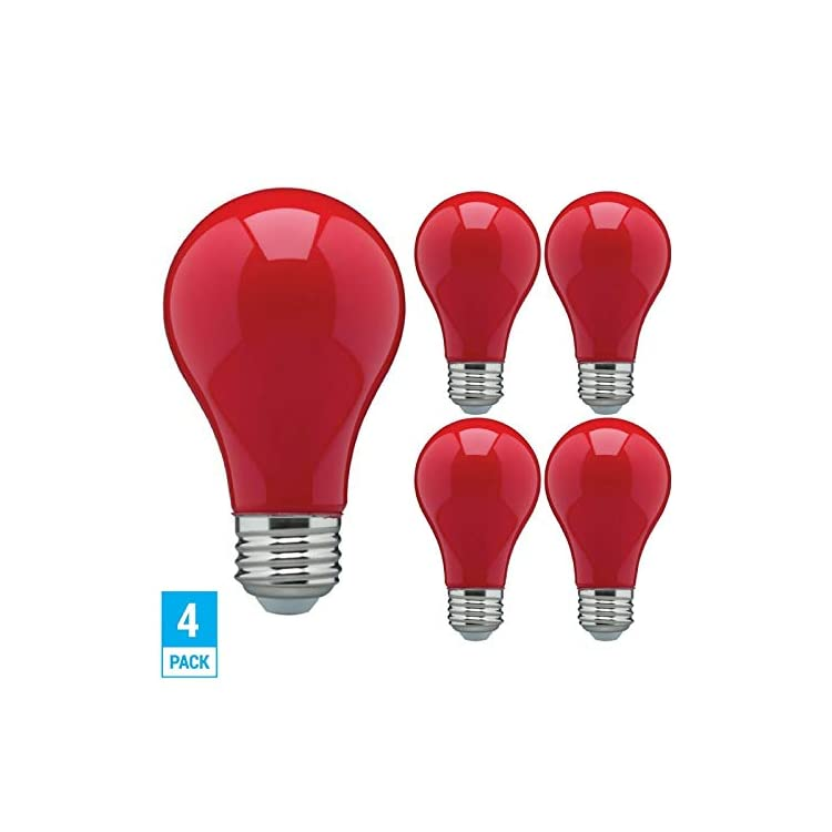 (Pack-of-4)-LED-8-Watt-Red-Color-A19-Dimmable-Party-Light-Bulb---120V-