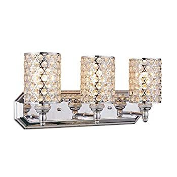 Doraimi-3-Light-Crystal-Wall-Sconce-Lighting-with-Chrome-Finish,Modern-and-Concise-Wall-Light-Fixture-with-Polyhedral-Opal-Crystal-Shade-for-Bath-Room,-Bed-Room,LED-Bulb(not-Include)