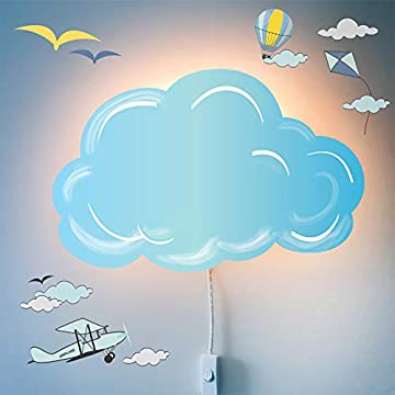 LED-Wall-Lamp-Nightlights-for-Children-and-Decal-Set-–-Nighty-Night-Light-for-Kids-Room-Decor-with-with-Plug-in-Cord-and-Wall-Stickers-–-Nursery-Decoration,-Cloud-Theme