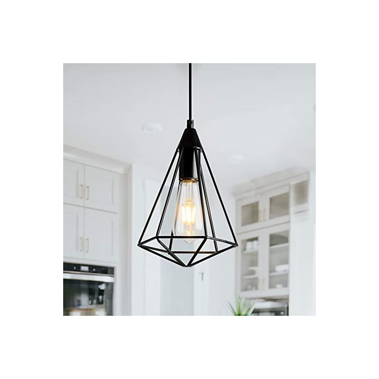 Single-Black-Industrial-Cage-Pendant-Light-Hanging-Ceiling-Light-Fixtu