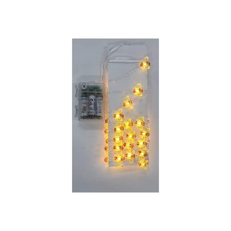 Honeybee-Decorative-String-Lights-13.85-Ft-40-Warm-White-LED-Weatherproof-Battery-Operated-8-Modes-Bee-Fairy-Lights-for-Holiday-Parties-Bedrooms-Weddings-Gardens-with-Remote-and-Timer