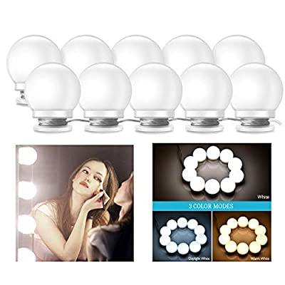 Vanity-Mirror-Lights-Kit,-3-Dimmable-Color-with-10-LED-Light-Bulbs-and-Adjustable-USB-Charger-LED-Mirror-Light-for-Bedroom-Makeup-Vanity-Table(No-Mirror-Included)