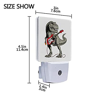 Set-of-2-Tyrannosaurus-Or-T-Rex-Dinosaur-Play-Electric-Guitar-Musical-Instrument-Auto-Sensor-LED-Dusk-to-Dawn-Night-Light-Plug-in-Indoor-for-Adults