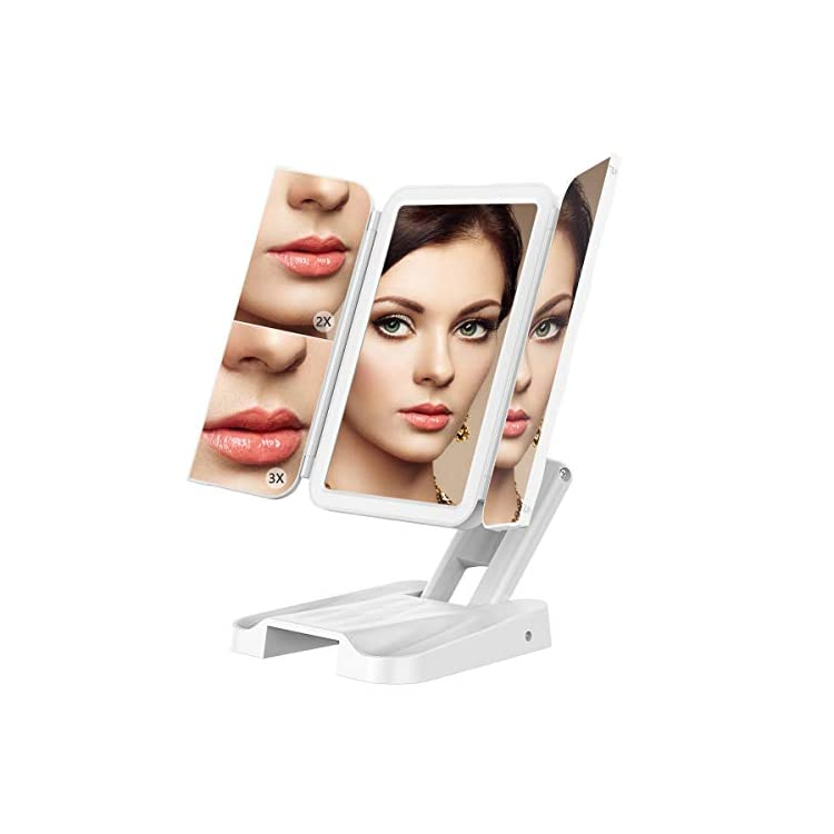 Makeup-Vanity-Mirror-with-Lights,-180°-Adjustable-Rotation,-3-Color-Lighting-Modes-72-LED-Trifold-Mirror,-Touch-Screen,-2X/3X-Magnification,-Portable-Cosmetic-Lighted-Up-Mirror