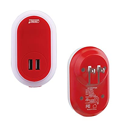 Travigo-LED-Night-Light-and-Dual-USB-Wall-Plug-In-Charger-Combo-w/-UL-Certification-|-Retractable-Hot/Neutral-Blade-Prongs-for-Safety---Red