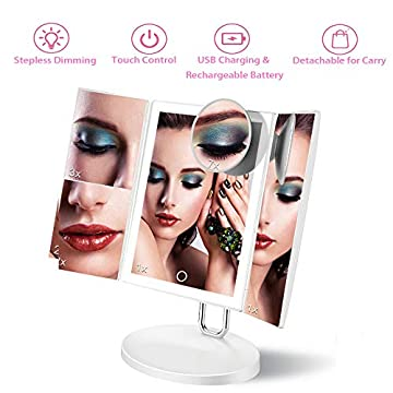 Trifold-Lighted-Vanity-Makeup-Mirror-34-LED-1X/2X/3X/7X-Magnification-Detachable-Portable-Cosmetic-Mirror-with-Adjustable-Brightness-and-Rechargeable-Power-Supply