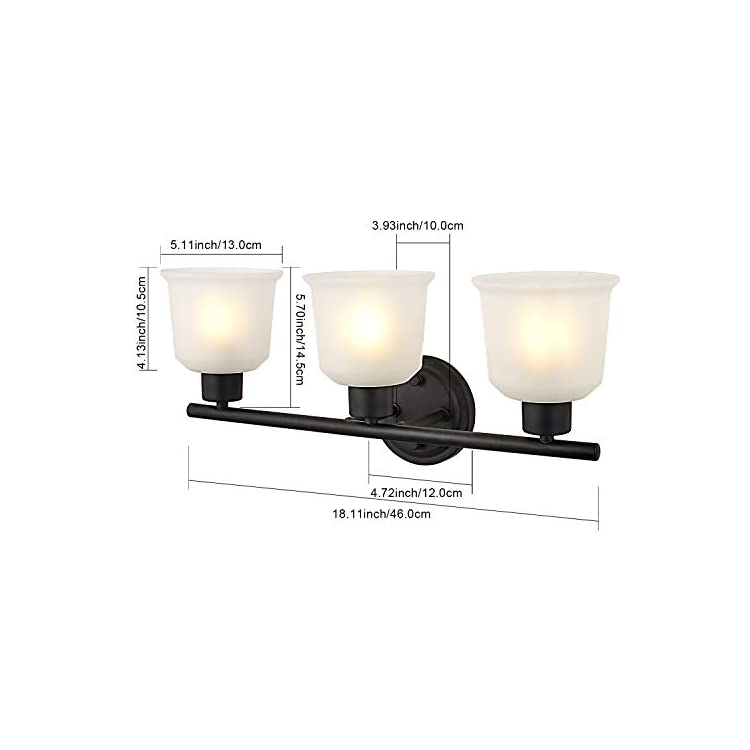 Wall-Sconce-Vintage-Industrial-Black-Wall-Lighting-with-Frosted-Glass-Lamp-Shades-Vanity-Lights-3-Light-(3-Light)