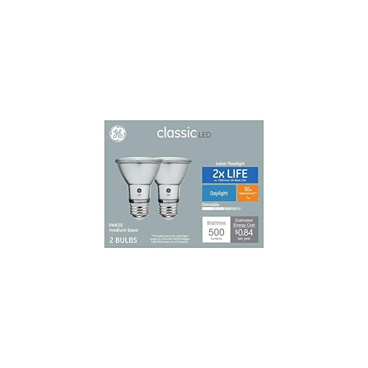 Classic-2-Pack-50-W-Equivalent-Dimmable-Daylight-Par20-LED-Light-Fixture-Light-Bulbs