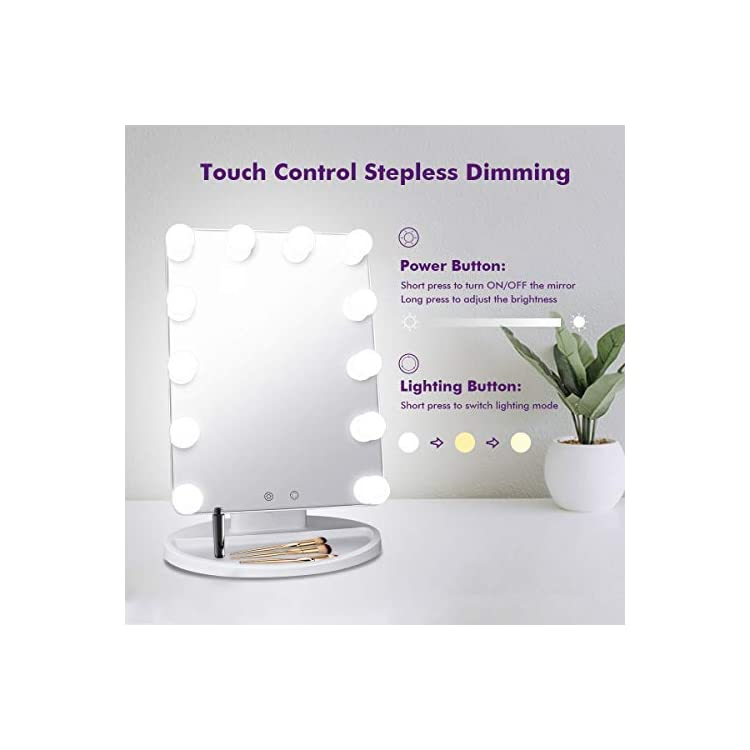 Cosmirror-Hollywood-Vanity-Makeup-Mirror-with-12-Light-Bulbs,-3-Color-Lighting-Modes,-Lighted-Makeup-Mirror-with-Touch-Sensor-Dimming,-Desktop-Cosmetic-Mirror-Plug-in-(White)