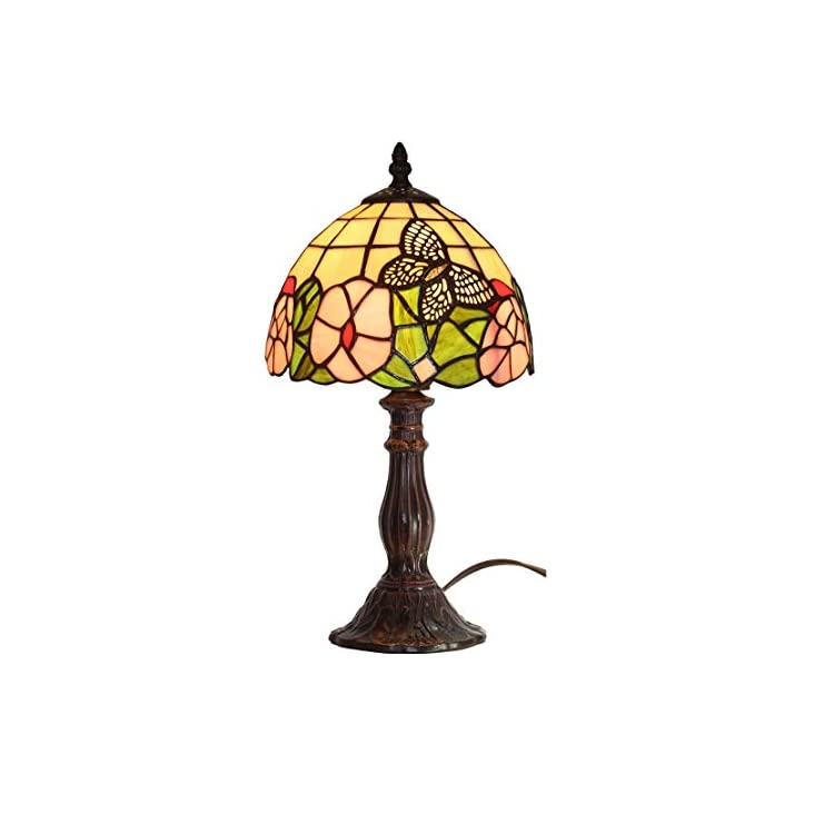 Tiffany-Style-Mini-Accent-Lamp-Yellow-Green-Red-Floral-Butterfly-Flowe