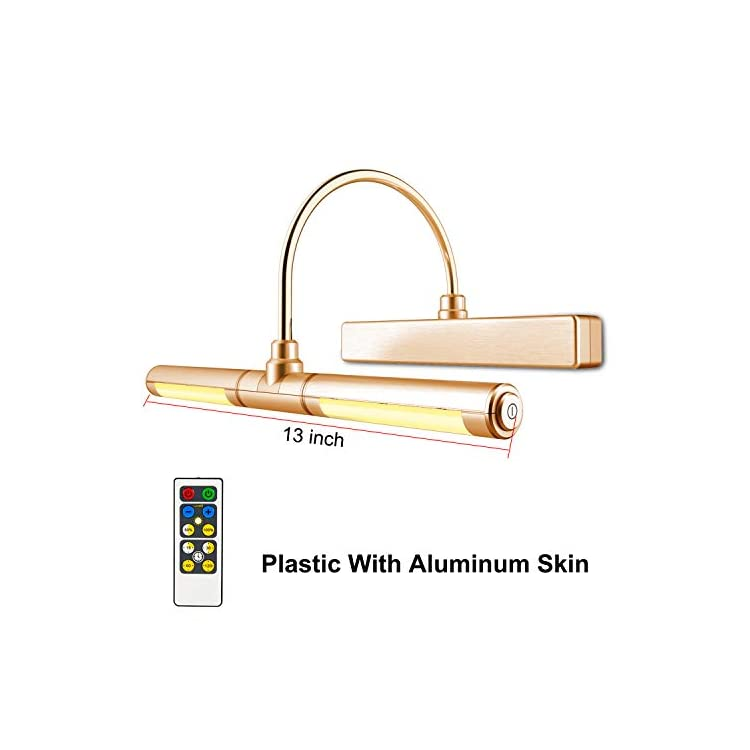 Wireless-Picture-Light-Battery-Operated,-Remote-Control-Painting-Light-with-Rotatable-Light-Tube,-Dimmable-and-Timer-Off-Art-Display-Light-for-Picture-Frame-Artworking-Portrait--Orange-Gold