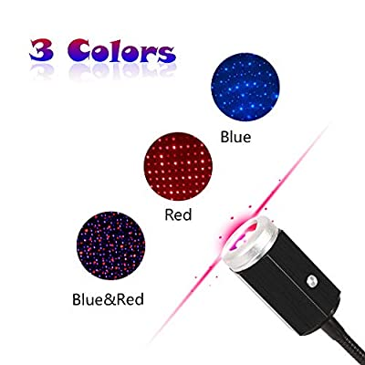 USB-Night-Light-Star-Projector,-3-Colors---7-Lighting-Effects,-Auto-Roof-Star-Lights,-Portable-Romantic-Light-for-Bedroom,-Car,-Party,-Ceiling-and-More--Plug-and-Play-(Blue-&-Red)