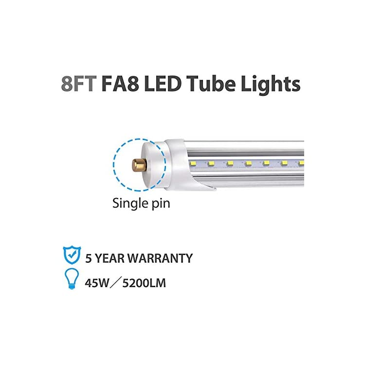 Bbounder-25-Pack-led-Tube-Light-8ft,-for-T8-or-T12-Flourescent-Light-Bulbs-(120W)-Replacement,45W,-FA8-Single-Pin-Base,-5200LM-6000K,-Dual-Ended-Power,-Ballast-Bypass,ETL-Listed