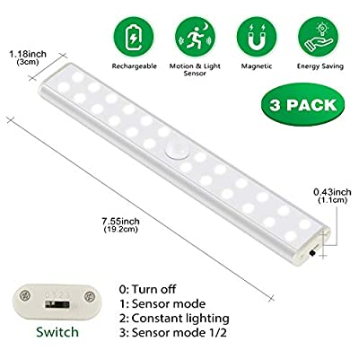 Under-Cabinet-Lighting,Wireless-24-LED-Light-3-Packs-with-Built-in-1000mAh-Rechargeable-Battery,Motion-Sensor-Night-Light-Security-Dimmable,Portable-Magnetic-Closet-Light-for-Closets/Stairs/Kitchen