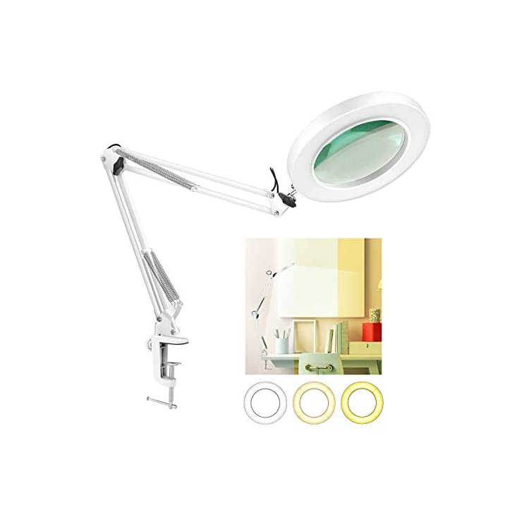 LED-Magnifying-Lamp-with-Clamp,-10-Levels-Dimmable,-3-Color-Modes,-5-D