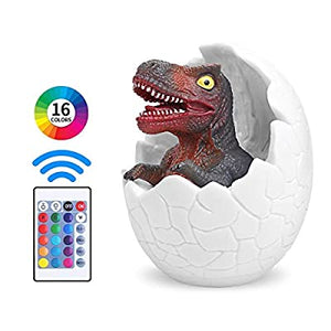 Dinosaur-Night-Light-for-Kids,-Rechargeable-3D-Dinosaur-Lamps,-16-Colors-Remote-Pat-Touch-Control-Bedside-Lamp-Dinosaur-Egg-Toys-for-Boys,Girls,-Baby,-Birthday-Christmas-New-Year-Gifts