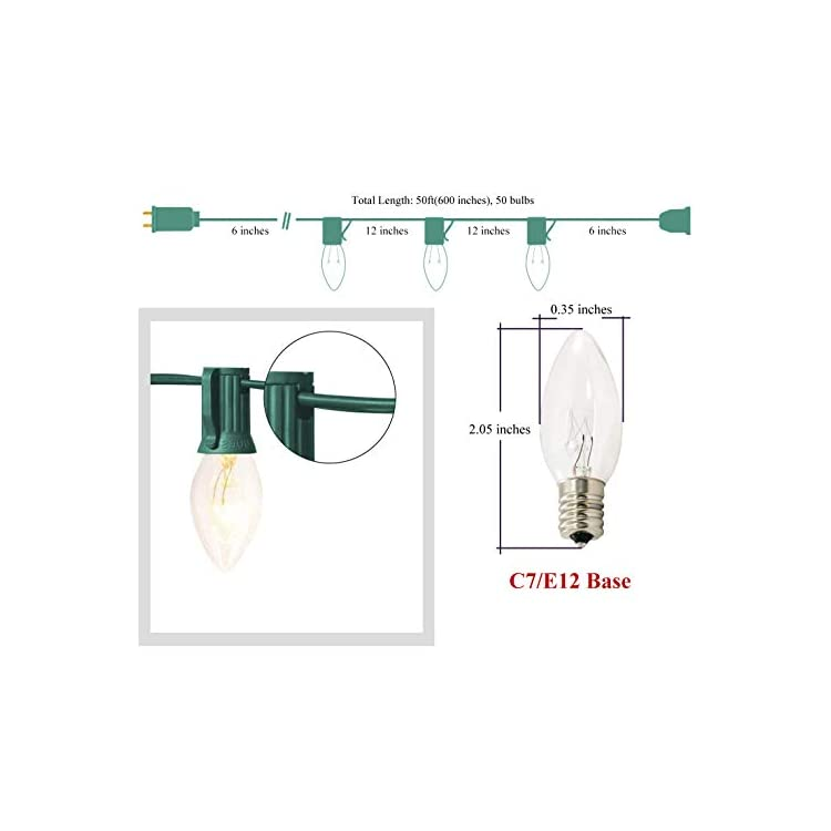 C7-Christmas-Lights-50ft-Clear-Lights-UL-Listed-String-Lights-for-Indoor/Outdoor-Use-Holiday-Christmas-Prom-Garden-Patio-Proposal-Party-50-Vintage-Incandescent-Clear-Bulbs-5W,-Green-Wire