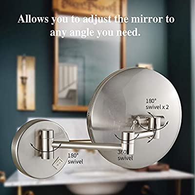 LED-Lighted-Wall-Mount-Mirror-8.5-Inch-with-7X-Magnification,-Swivel-Mountable-Makeup-Mirror-with-Plug,-Nickel-Finished-(8.5in,7X)