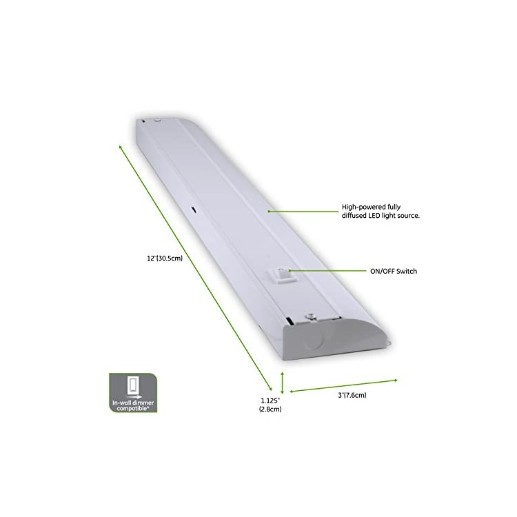 12-Inch-Premium-Front-Phase-LED-Under-Cabinet-Light-Fixture,-Direct-Wire,-In-Wall-Dimmer-Compatible,-3000K-Bright-White,-Steel-Housing,-485-Lumens,-26739
