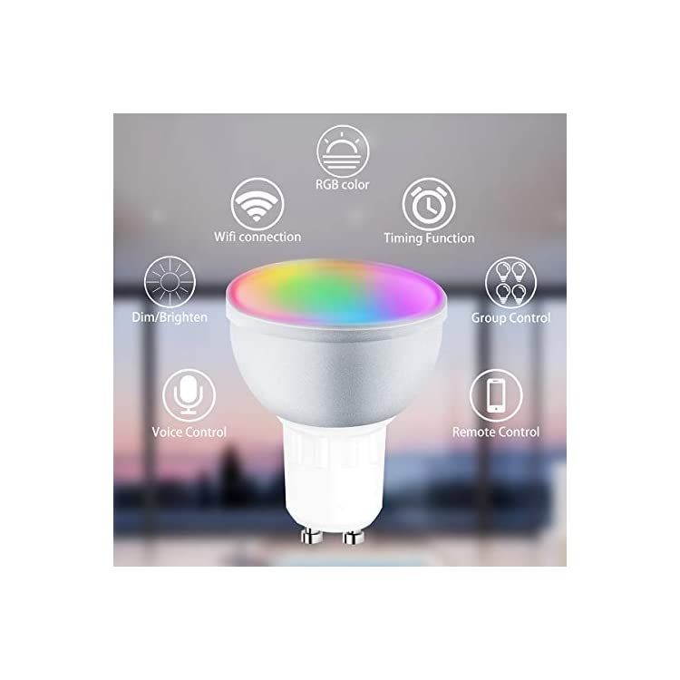 GU10-Led-Bulbs,-Smart-LED-WiFi-Bulbs-Daylight-Lamps-Multicolor-LED-Bulb-Control-by-Smart-Phone,-Dimmable-Spot-Light-Bulb-Compatible-with-Alexa-Google-Assistant-No-Hub-Required-2-Pack