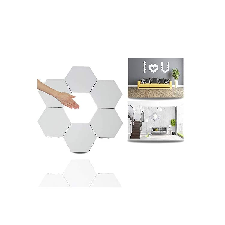 Modular-Touch-Light,Creative-Smart-Touch-LED-Light-Panel-Removable-Hexagonal-Wall-Lamp-DIY-Geometry-Splicing-Hex-Light-Honeycomb-Hallway-Night-Light-for-Home-Office-Hotel-Bar-Festive-Gift,6-Pack