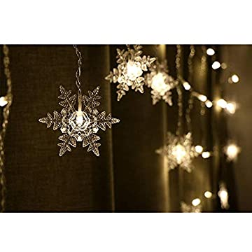 12ft/3.5M-96LED-Snowflake-Curtain-Light-Plug-in-String-Light-LED-Fairy-Night-Light,-Perfect-for-Christmas-Wedding-Party-Decoration-Chandelier-Luminarias---Warm-White