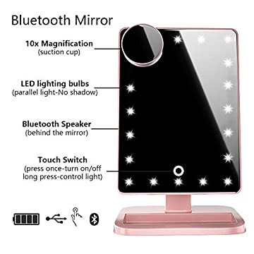 Vanity-Mirror-with-Lights-Bluetooth-Lighted-Makeup-Mirror-Touch-Screen-Wireless-Audio-Speaker-Dimmable-Light-Detachable-10X-Magnification-Rechargable-Power-(Rose-Gold)