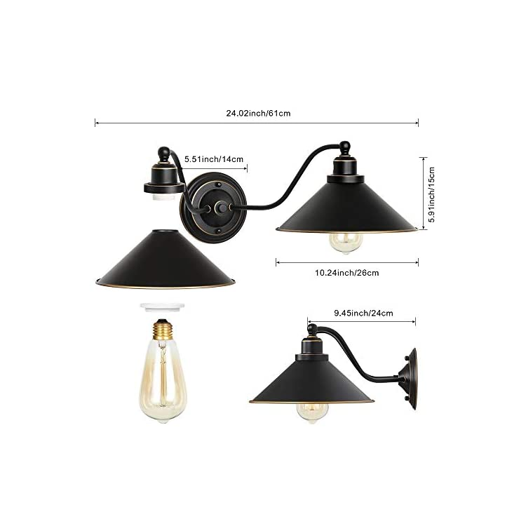 Industrial-Bathroom-Vanity-Light-2-Light-Gooseneck-Wall-Sconce-Fixture-with-Black-Metal-Lampshades,-Vintage-Edison-Wall-Lamps-for-Bedroom-Kitchen-Living-Room-Porch-Hallway-Mirror-Cabinets-Dressing-Tab